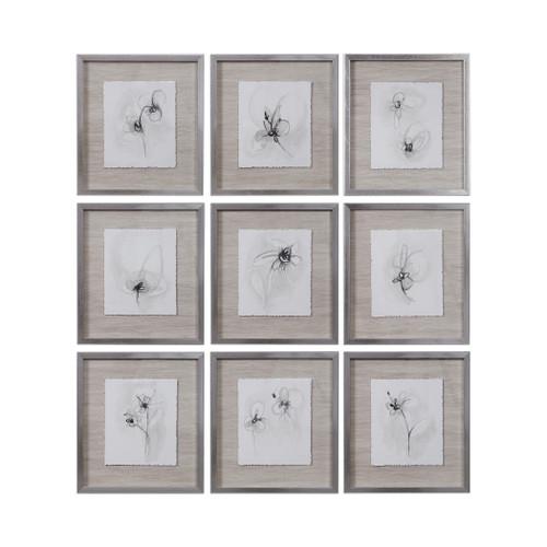 Uttermost Neutral Floral Gestures Prints Set/9