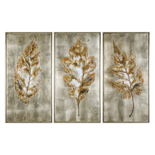 Uttermost Champagne Leaves Modern Art S/3 by Grace Feyock
