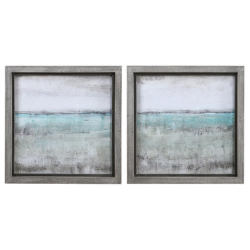 Uttermost Aqua Horizon Framed Prints, Set/2