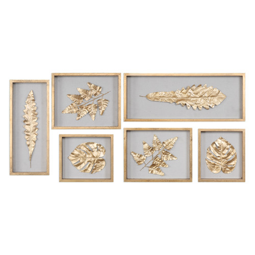Uttermost Golden Leaves Shadow Box Set/6 by Grace Feyock