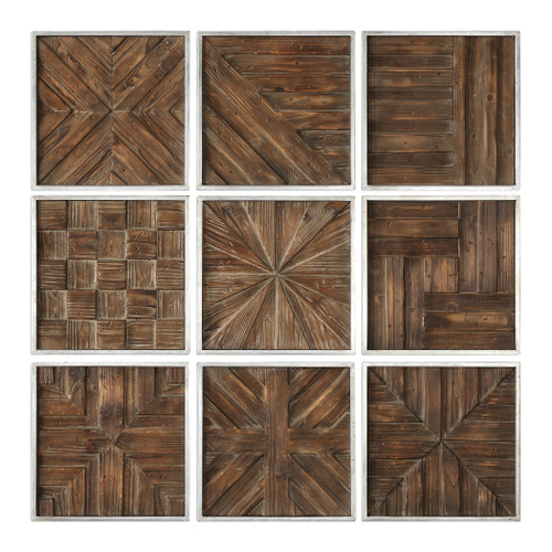 Uttermost Bryndle Rustic Wooden Squares S/9