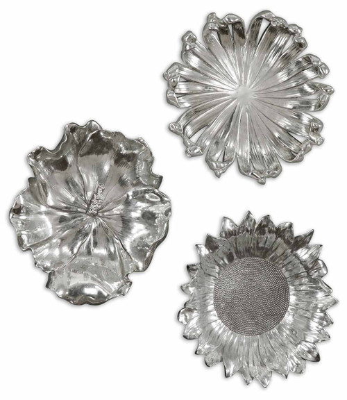 Uttermost Silver Flowers Wall Art, Set/3