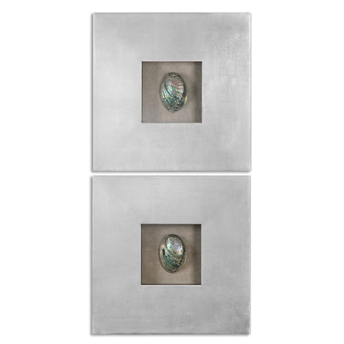 Uttermost Abalone Shells Silver Wall Art, S/2 by Grace Feyock