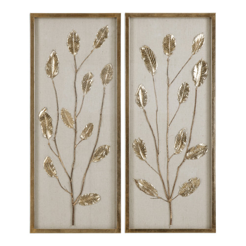 Uttermost Branching Out Gold Leaf Panels Set/2 by Grace Feyock