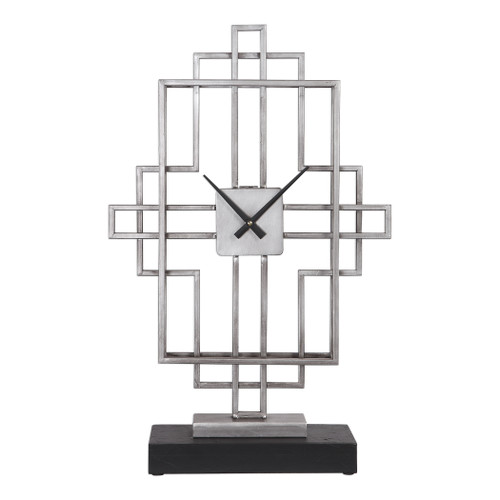 Uttermost Vanini Silver Tabletop Clock by Grace Feyock