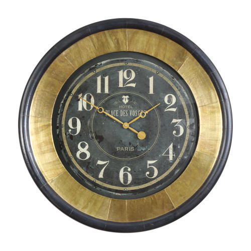 Uttermost Lannaster Black & Gold Wall Clock by John Kowalski