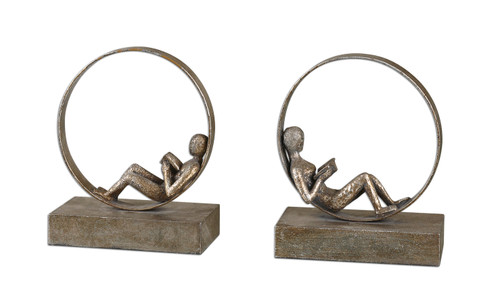 Uttermost Lounging Reader Antique Bookends Set/2 by Grace Feyock