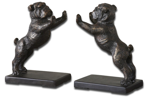 Uttermost Bulldogs Cast Iron Bookends, Set/2 by Joseph Famulari