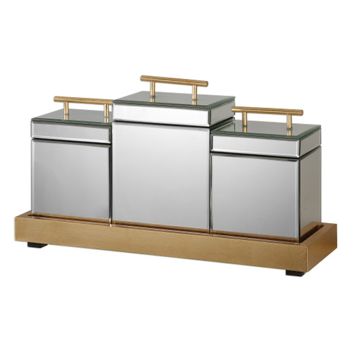 Uttermost Faustina Mirrored Boxes And Tray S/4