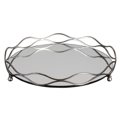 Uttermost Rachele Mirrored Silver Tray by Jim Parsons