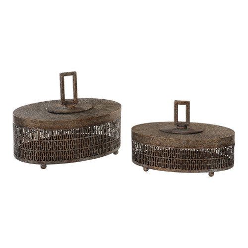 Uttermost Agnese Antiqued Gold Boxes, Set Of 2 by Billy Moon