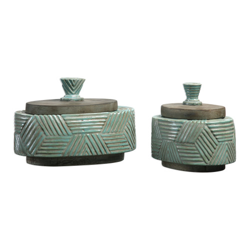 Uttermost Ruth Ceramic Boxes S/2 by Billy Moon