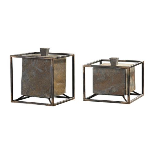 Uttermost Slate Cube Boxes S/2 by Billy Moon