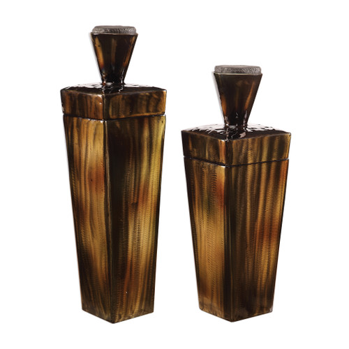 Uttermost Lisa Brown Steel Containers, S/2 by Carolyn Kinder