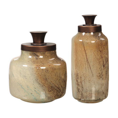 Uttermost Elia Glass Containers, S/2 by Carolyn Kinder