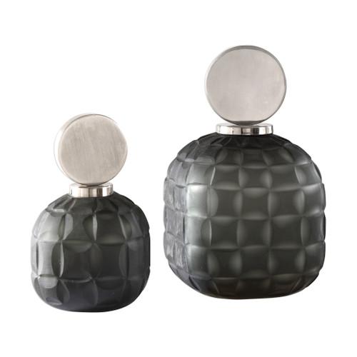 Uttermost Nafuna Charcoal Glass Bottles S/2 by Matthew Williams