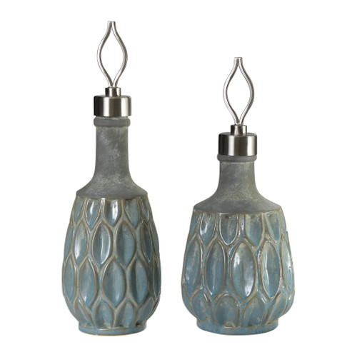 Uttermost Arpana Blue And Gray Bottles S/2 by David Frisch
