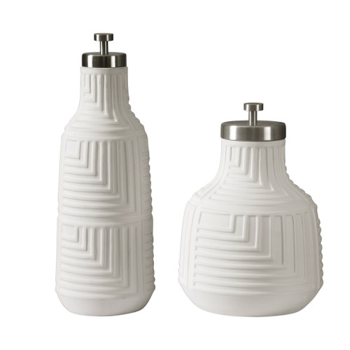 Uttermost Chandran Matte White Containers S/2 by Jim Parsons