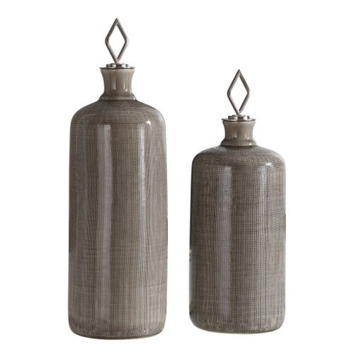 Uttermost Dhara Taupe Glaze Bottles, S/2 by Jim Parsons