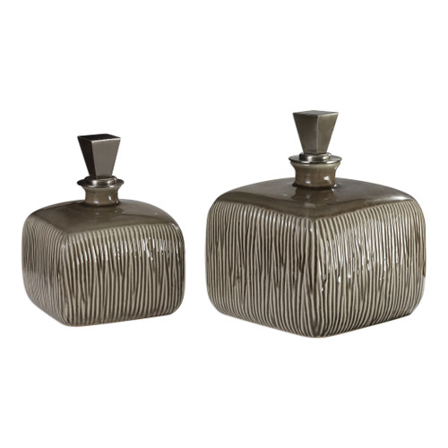 Uttermost Cayson Ribbed Ceramic Bottles, S/2 by Jim Parsons
