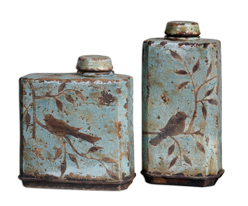 Uttermost Freya Light Sky Blue Containers, Set/2 by Billy Moon