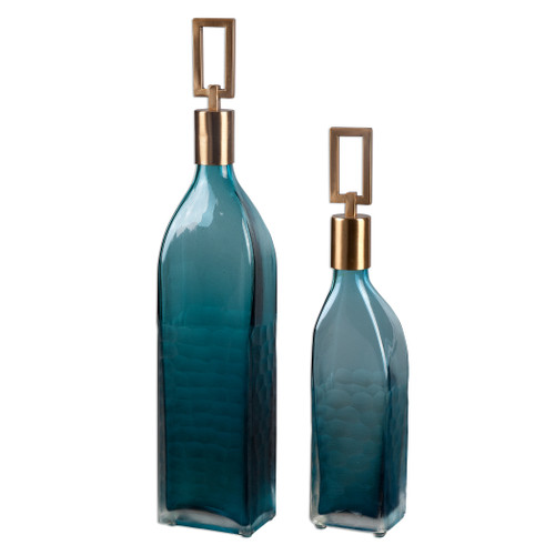 Uttermost Annabella Teal Glass Bottles, S/2 by David Frisch