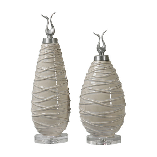Uttermost Romeo Crackled Light Gray Finials S/2 by Billy Moon