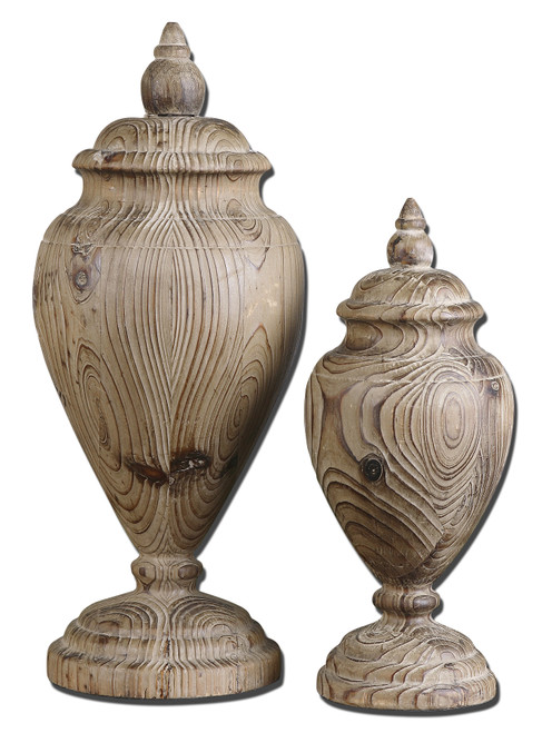 Uttermost Brisco Carved Wood Finials, Set/2 by Grace Feyock