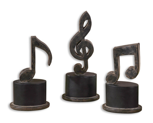 Uttermost Music Notes Metal Figurines, Set/3 by Grace Feyock