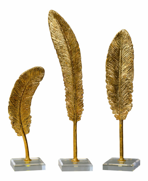 Uttermost Feathers Gold Sculpture S/3 by Grace Feyock