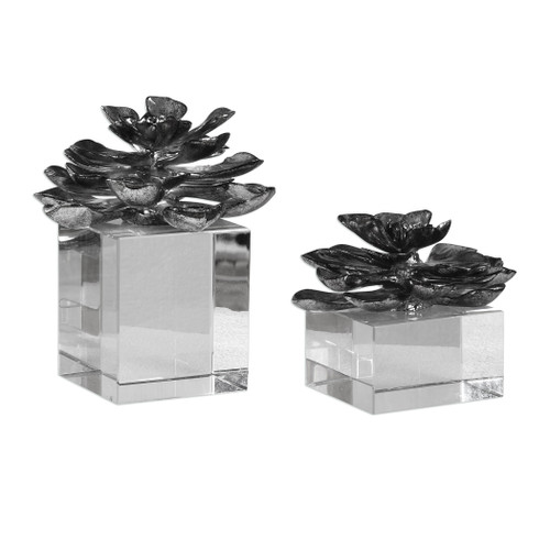 Uttermost Indian Lotus Metallic Silver Flowers S/2 by David Frisch
