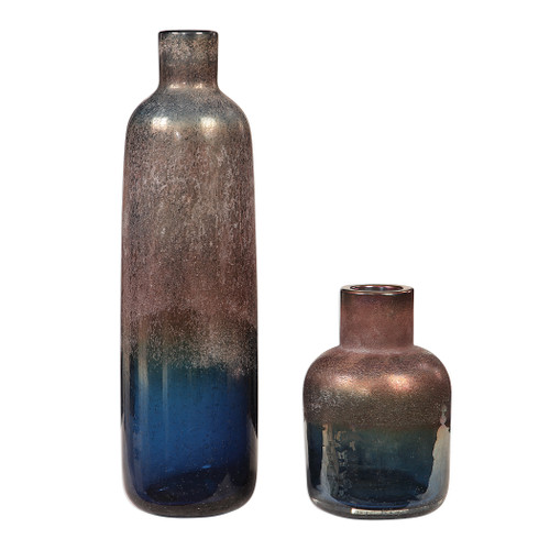 Uttermost Korbin Blue Vases, S/2 by Carolyn Kinder