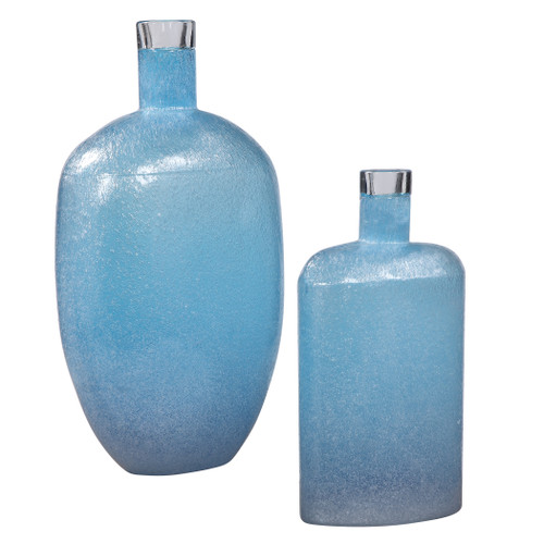 Uttermost Suvi Blue Glass Vases, Set/2 by Carolyn Kinder