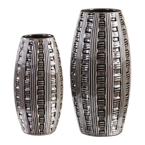 Uttermost Aura Weave Pattern Vases S/2 by Jim Parsons