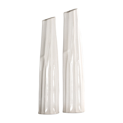 Uttermost Kenley Crackled White Vases S/2