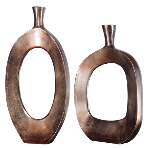 Uttermost Kyler Textured Bronze Vases Set/2