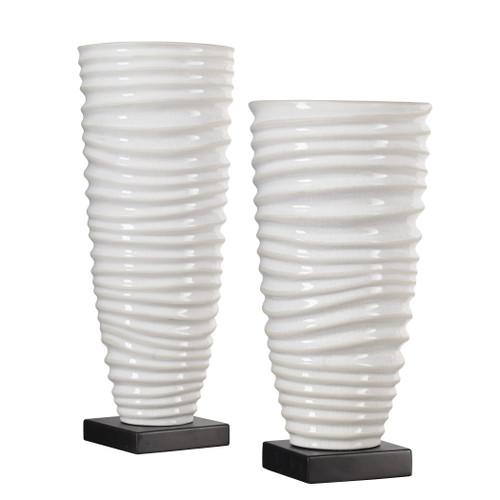Uttermost Kiera Aged White Vases, S/2 by Matthew Williams