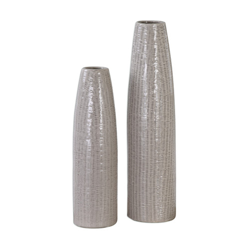 Uttermost Sara Textured Ceramic Vases S/2 by Jim Parsons