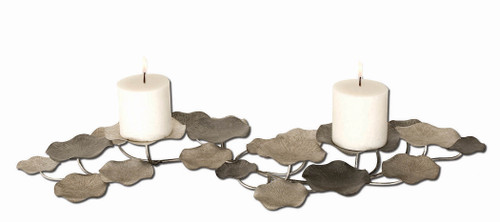 Uttermost Lying Lotus Metal Candleholders by Billy Moon