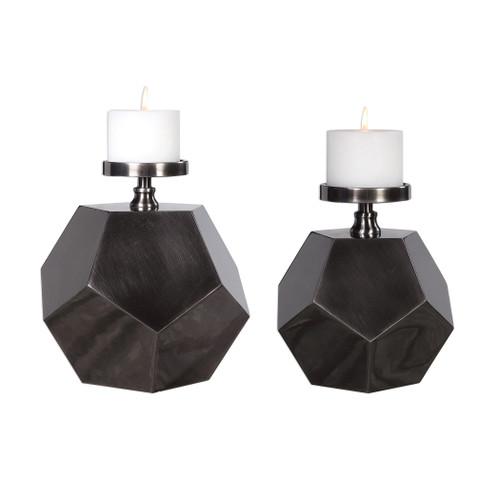Uttermost Dash Steel Polygon Candleholders Set/2 by David Frisch