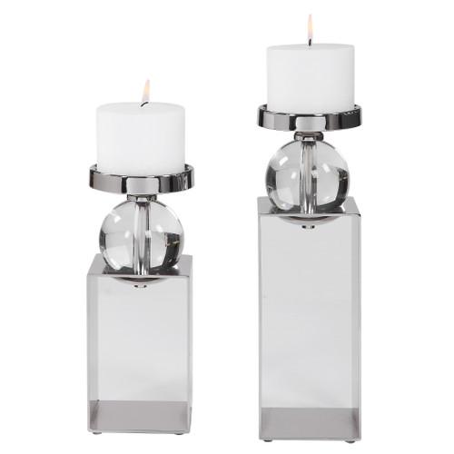 Uttermost Lucian Nickel Candleholders, Set/2 by Billy Moon