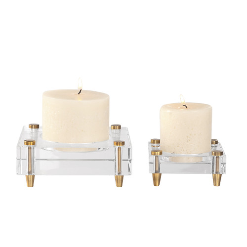 Uttermost Claire Crystal Block Candleholders, S/2 by David Frisch