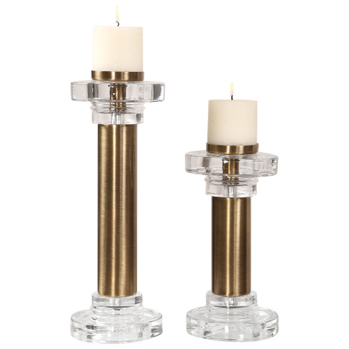 Uttermost Leslie Brushed Brass Candleholders, S/2