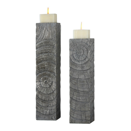 Uttermost Odion Wooden Log Candleholders S/2 by Billy Moon