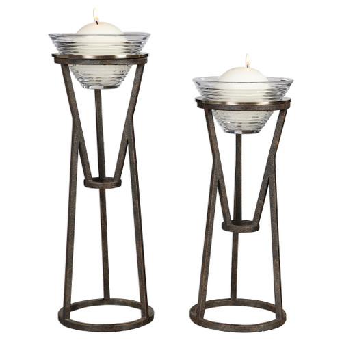 Uttermost Lane Iron Candleholders Set/2 by Matthew Williams