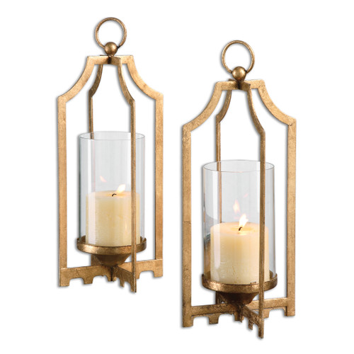 Uttermost Lucy Gold Candleholders S/2 by Jim Parsons
