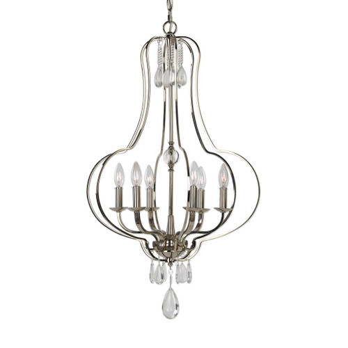 Uttermost Genie 6 Light Polished Nickel Chandelier by Kalizma Home