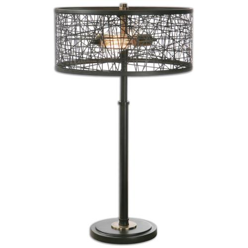 Uttermost Alita Black Drum Shade Lamp by Carolyn Kinder