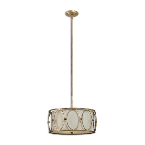Uttermost Ovala 3 Light Gold Drum Pendant by Carolyn Kinder