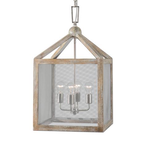 Uttermost Nashua 4 Light Wooden Lantern Pendant by Carolyn Kinder